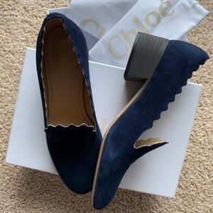 Chloe Scalloped Suede 40mm Loafer, Blue Lagoon